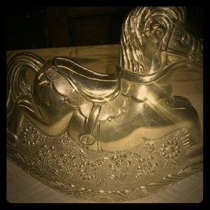 Vintage Silver plated rocking horse piggy bank